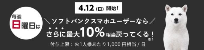 ソフトバンクスマホユーザーなら日曜日限定で最大10%戻ってくる